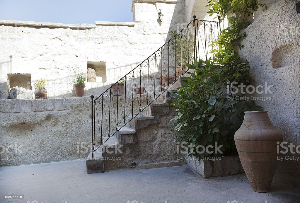renovated courtyard in Goreme Cappadocia Turkey stock photo