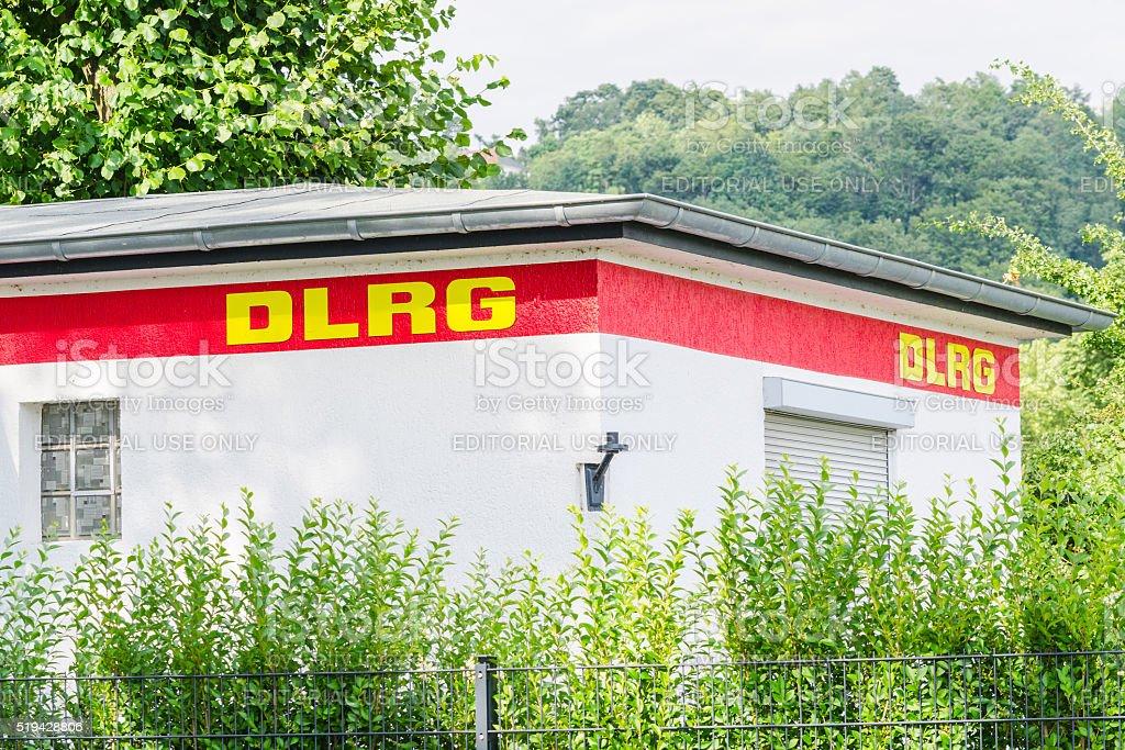 Renovated DLRG station at Baldeneysee stock photo