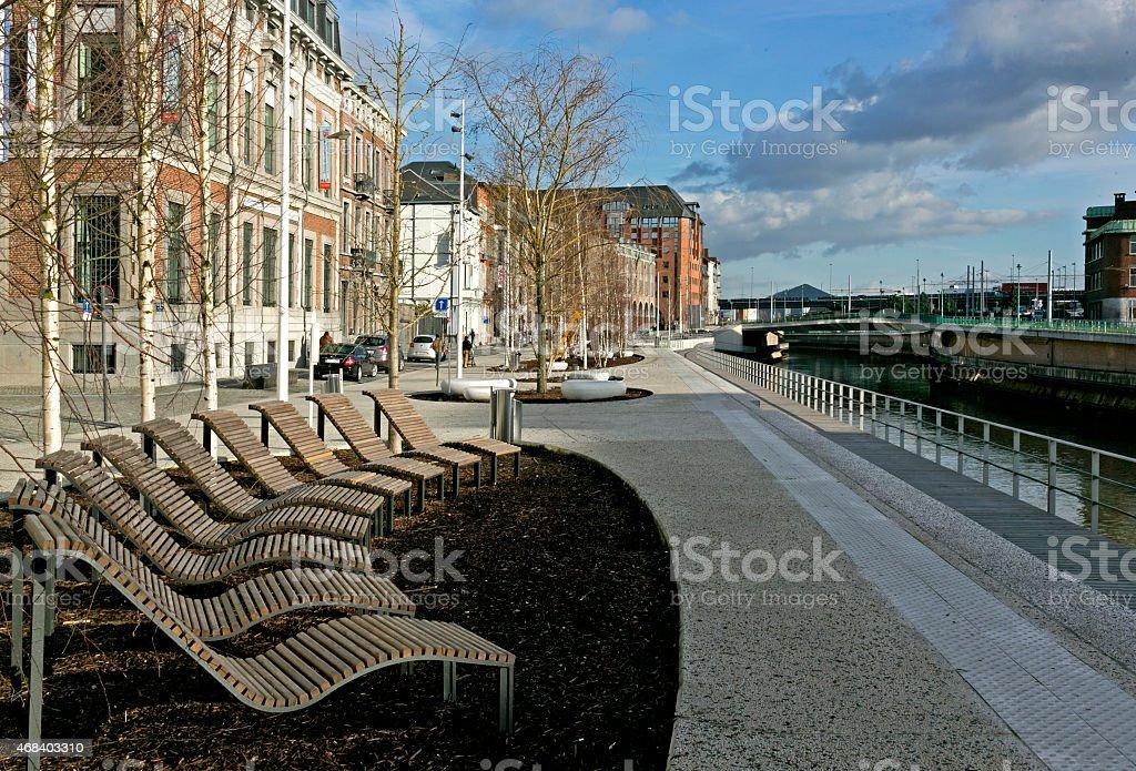Renovated docks of the Sambre, Charleroi, Wallonia, Belgium stock photo