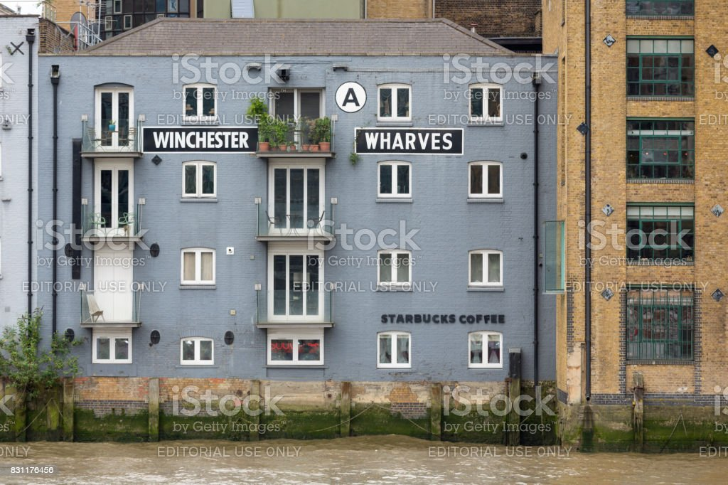 Renovated old buildings at South bank river Thames, London, England stock photo