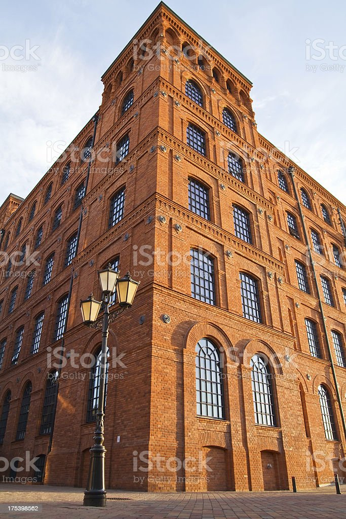 Renovated red-brick factory stock photo