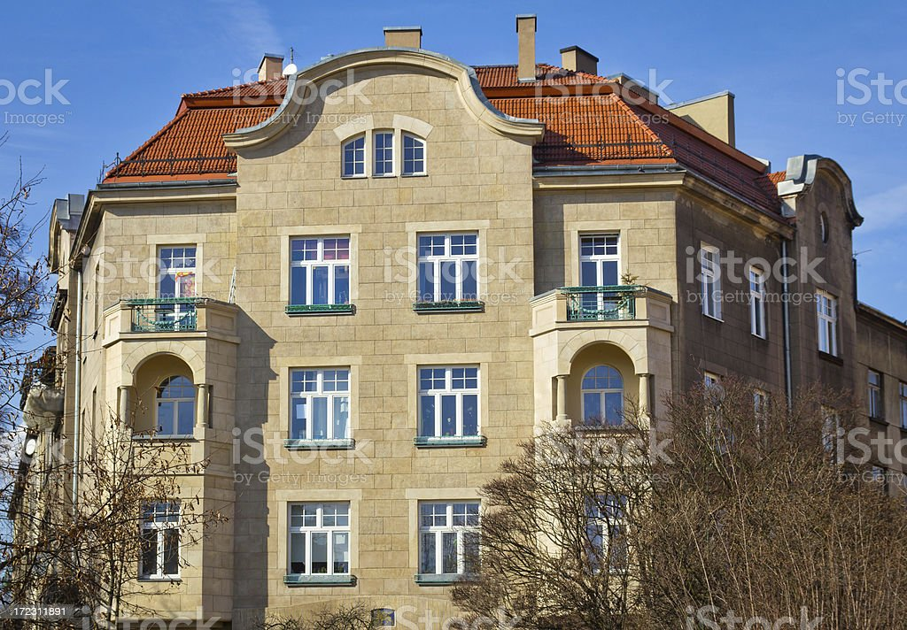 Renovated tenement house royalty-free stock photo