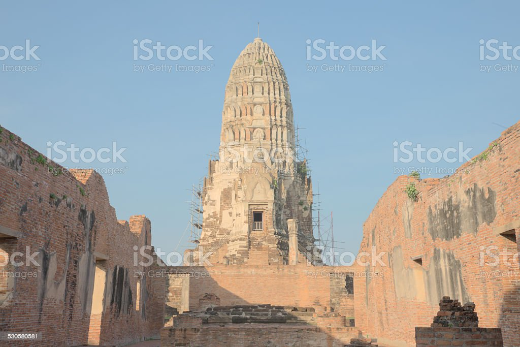 Renovating ancient ruin pagoda stock photo