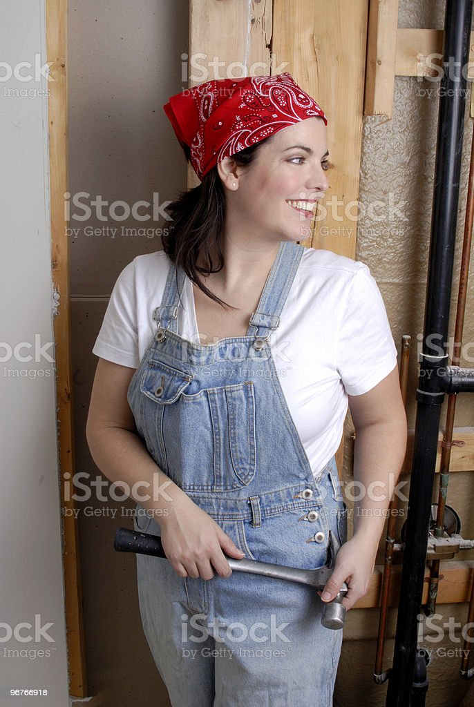 Renovating Her Bathroom royalty-free stock photo