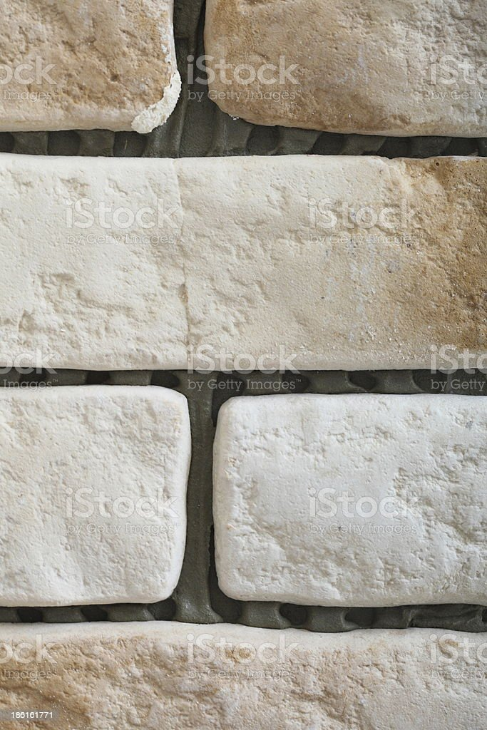 Renovation at home wall clinker tile as background royalty-free stock photo