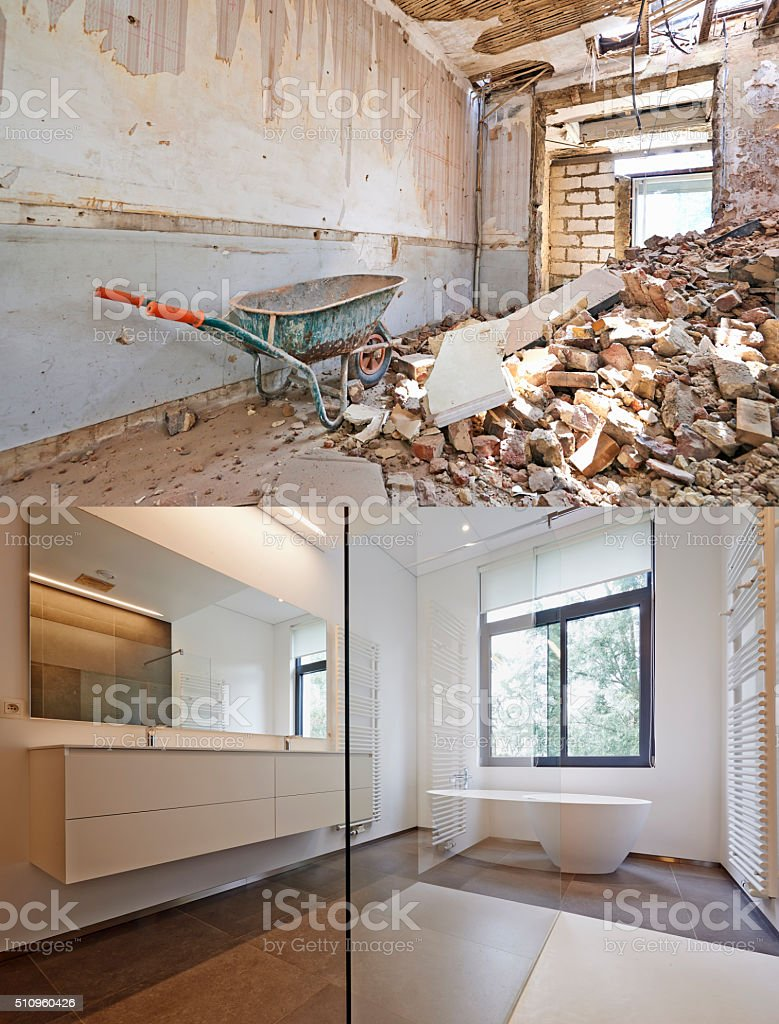Renovation of a bathroom Before and after stock photo