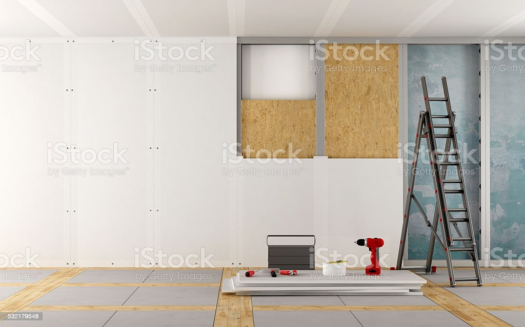 Renovation of an old house stock photo