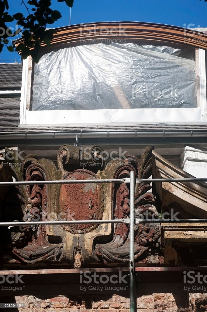 Renovation of historic cartouche stock photo