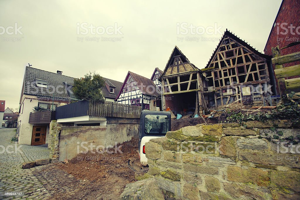 Renovation of old half timbered house stock photo