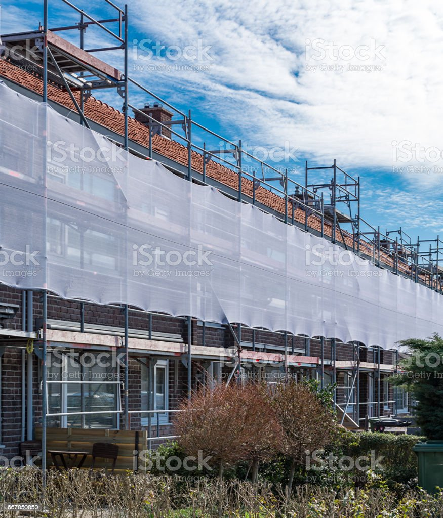 Renovation of old houses district in Waddinxveen stock photo