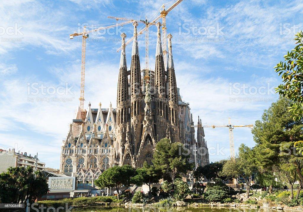 Renovation of the magnificent Sagrada Familia of Spain stock photo