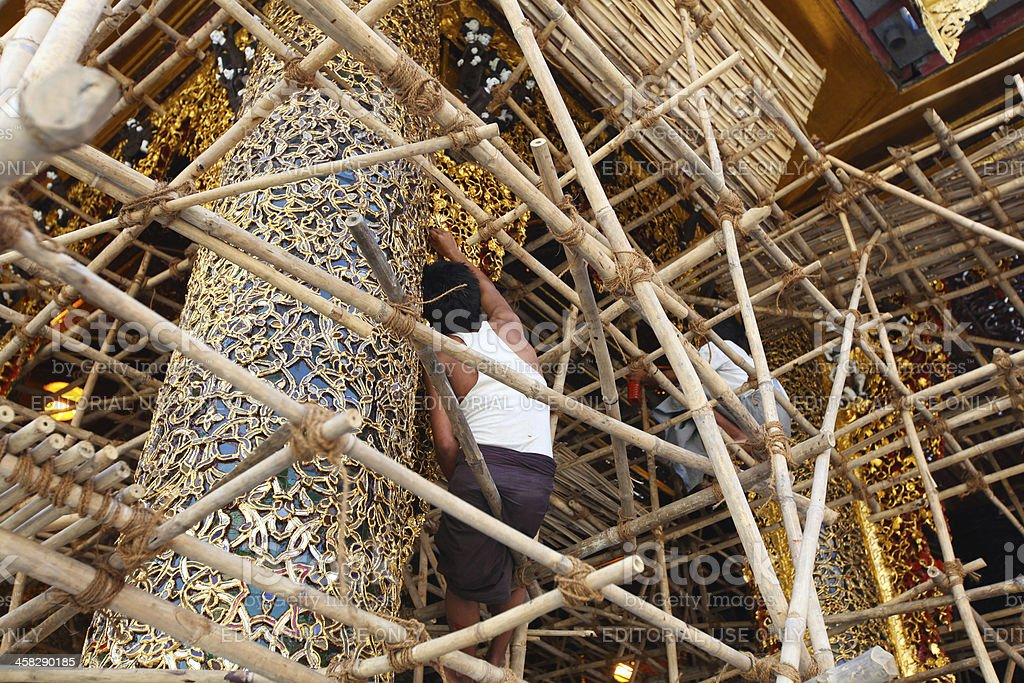 Renovation work in progress at the golden pagoda, Rangoon royalty-free stock photo