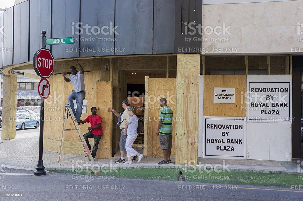Renovation works at Royal Bank Plaza, Grand Cayman stock photo