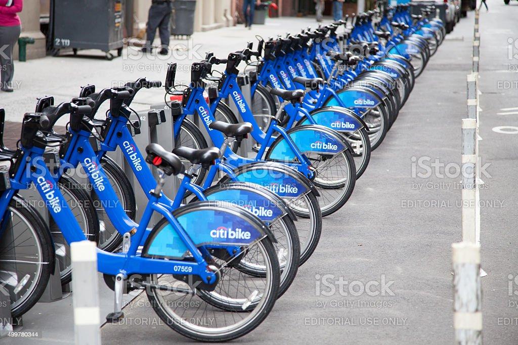 Rentable bikes in Manhattan New York City stock photo