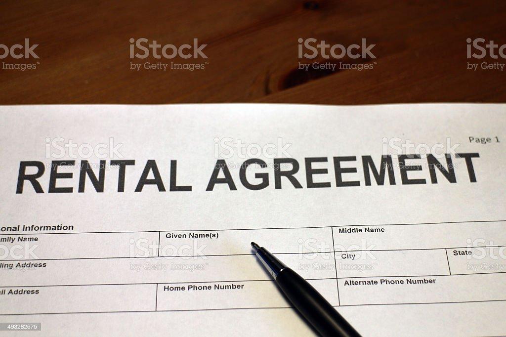Rental Agreement Document stock photo