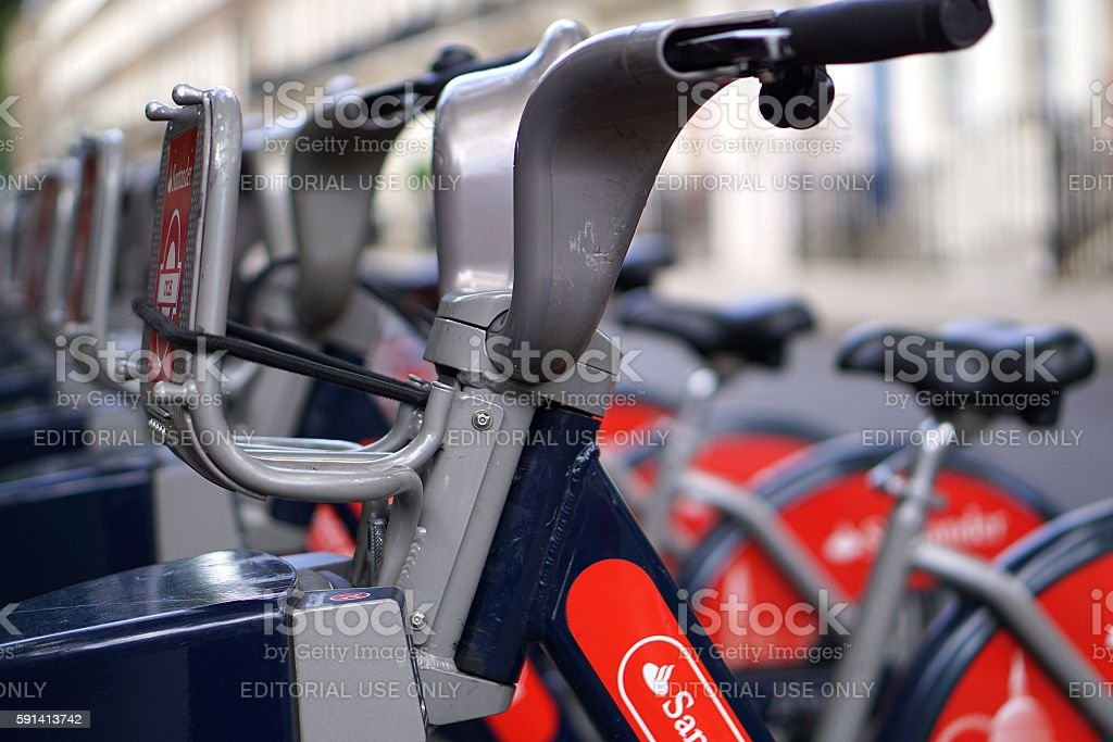 Rental Bikes, London, Close Up stock photo