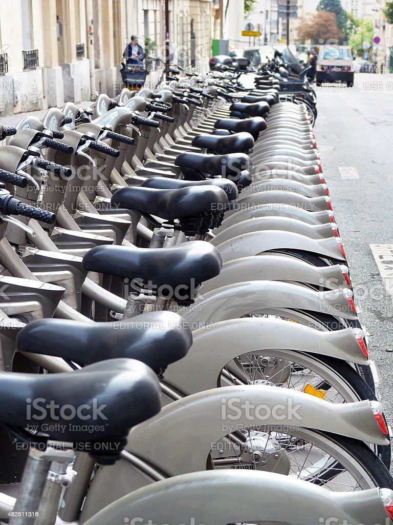 Rental bikes, Paris, France stock photo