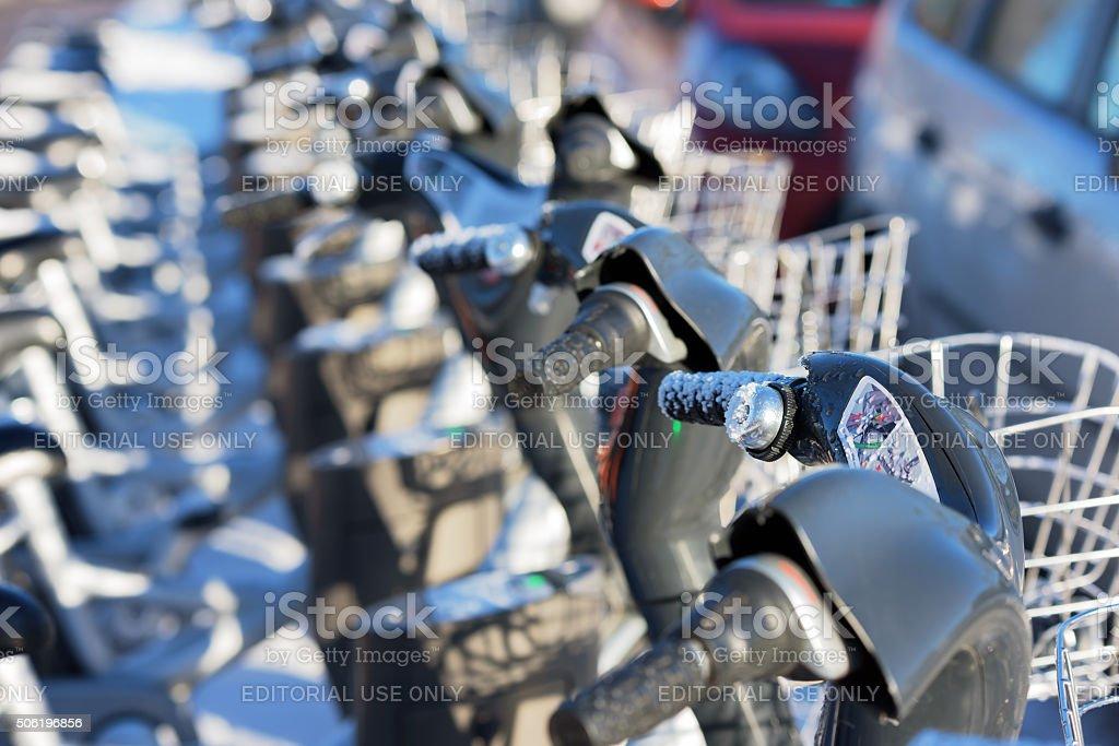 Rental bikes stock photo