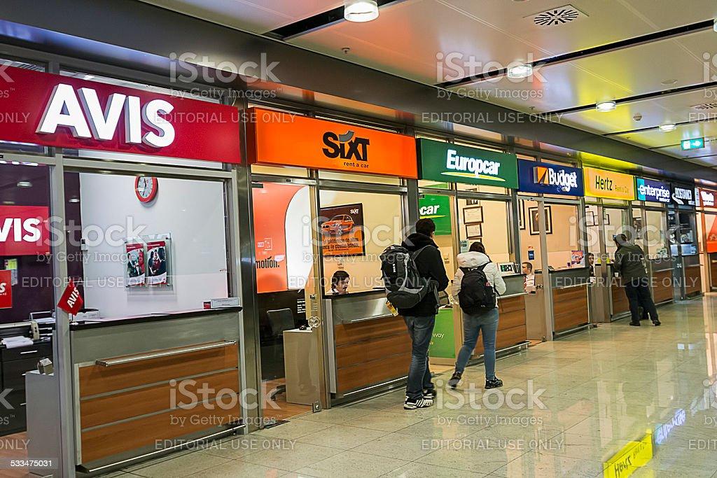Rental car offices at Sabiha Gokcen Airport stock photo