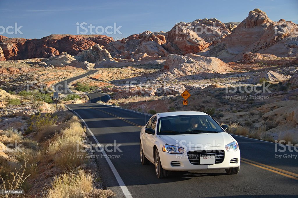 Rental Car on Scenic Road royalty-free stock photo