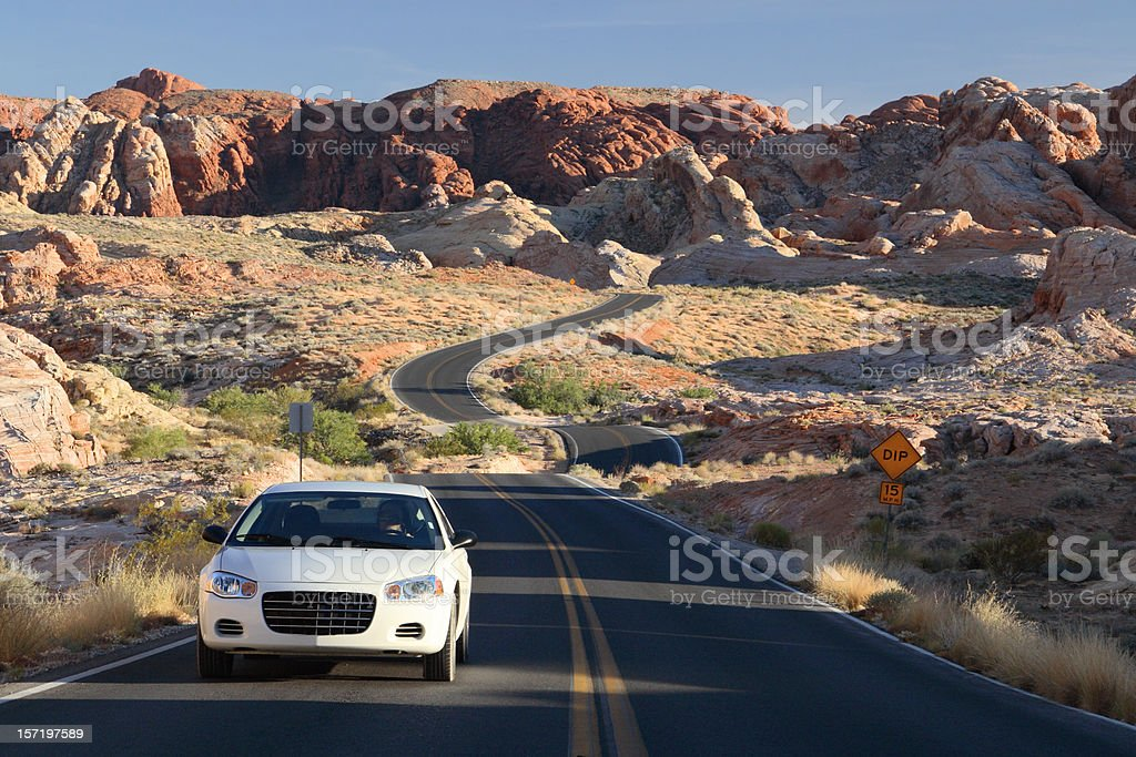 Rental Car on Scenic Road stock photo
