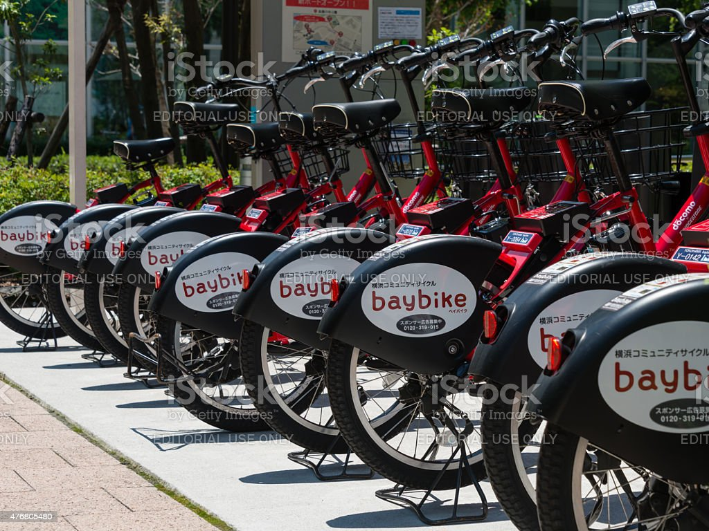 Rental E-bikes (bicycles assisted by electric motors) stock photo