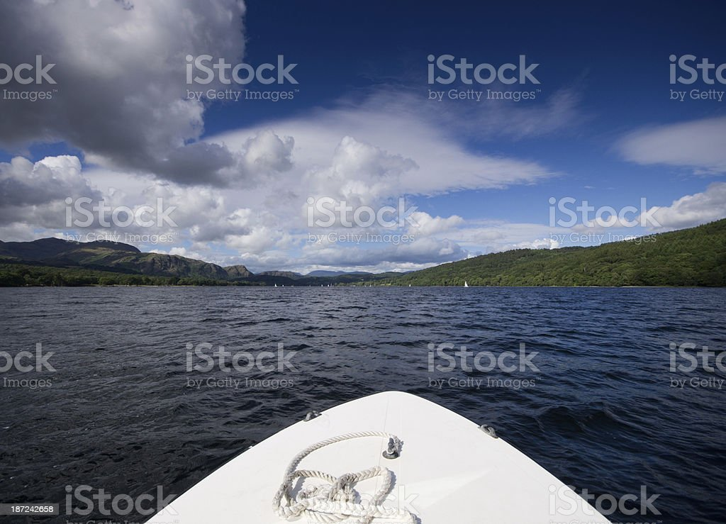 Rented motor boat on Coniston Water royalty-free stock photo