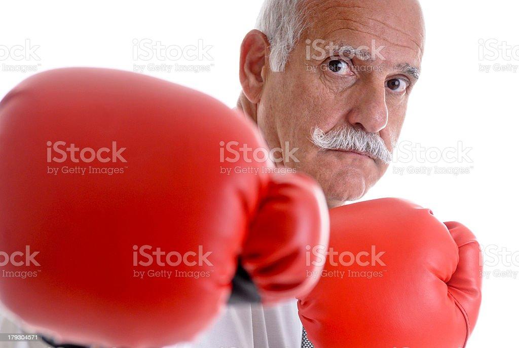 Rentner mit Boxhandschuhe royalty-free stock photo