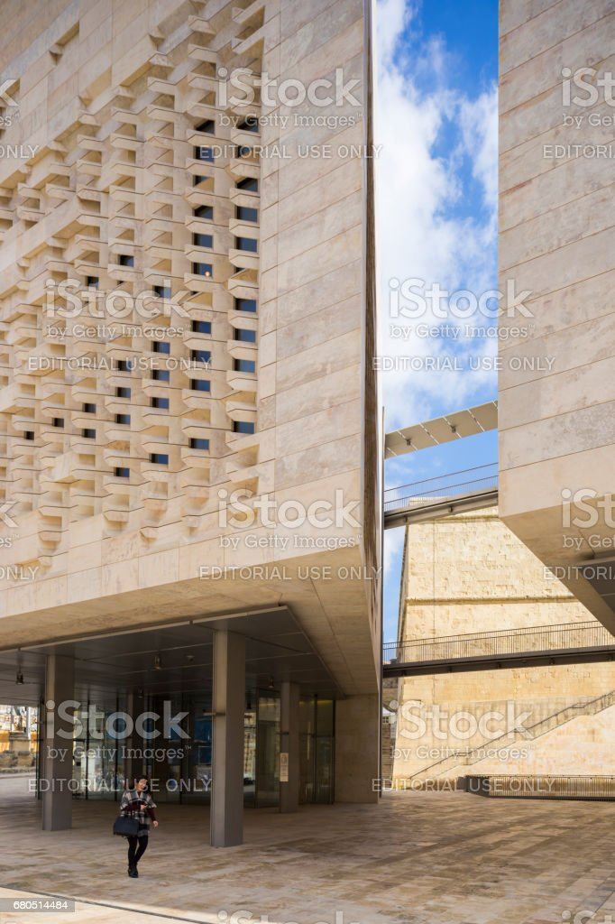 Renzo Pianos Parliament Building, Valletta, Capital City of Malta stock photo
