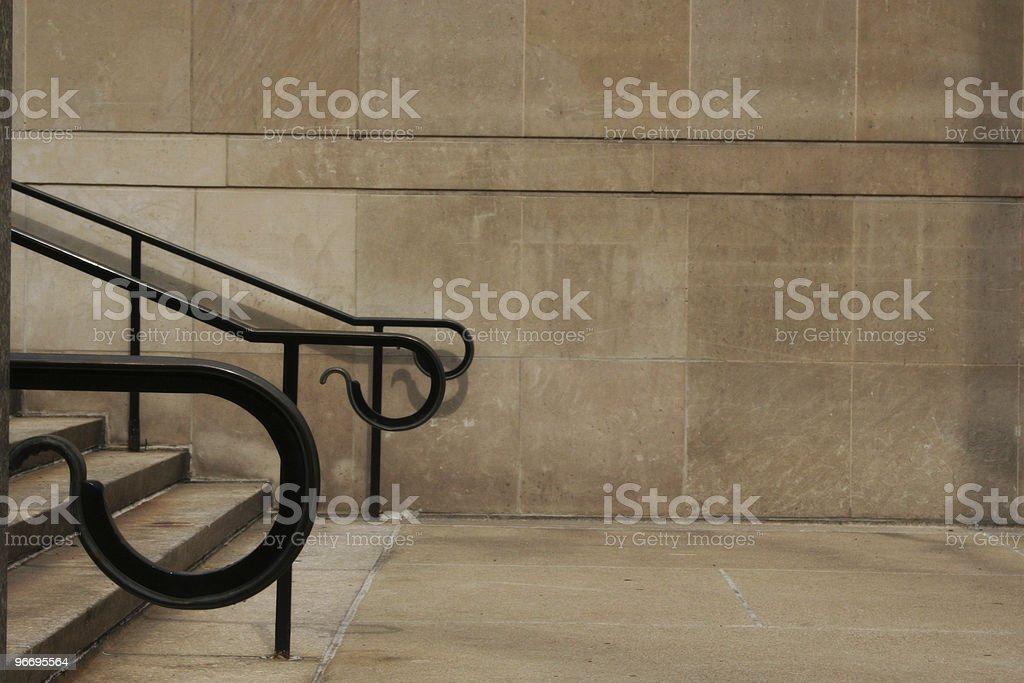 Reoccurring Black Iron Handrails Contrast Limestone Walls 03 stock photo
