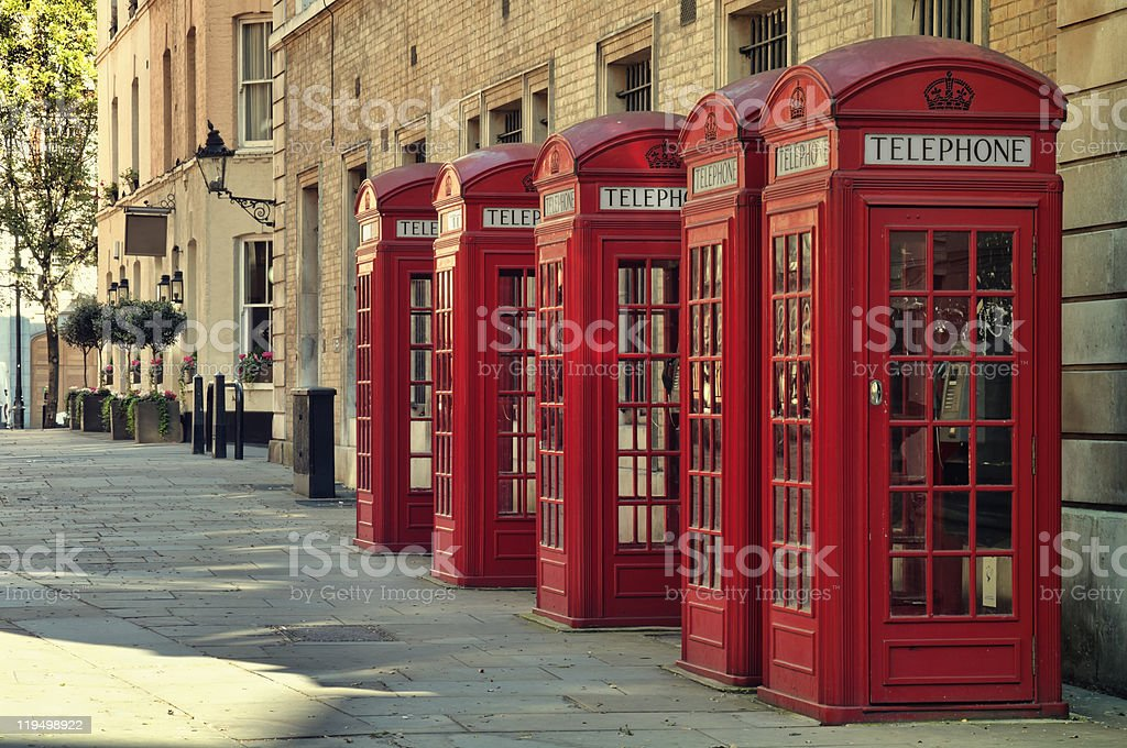 Rep Phone Boxes, London. stock photo