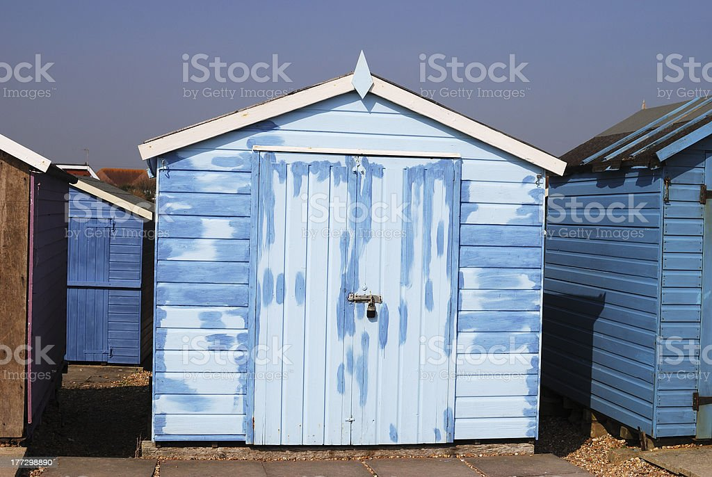 Repainted Beach hut at Ferring. West Sussex. England royalty-free stock photo