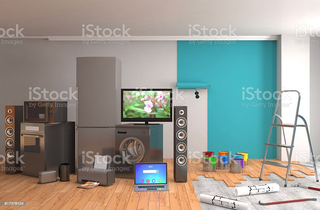 Repair and painting of walls in room. 3D illustration. stock photo