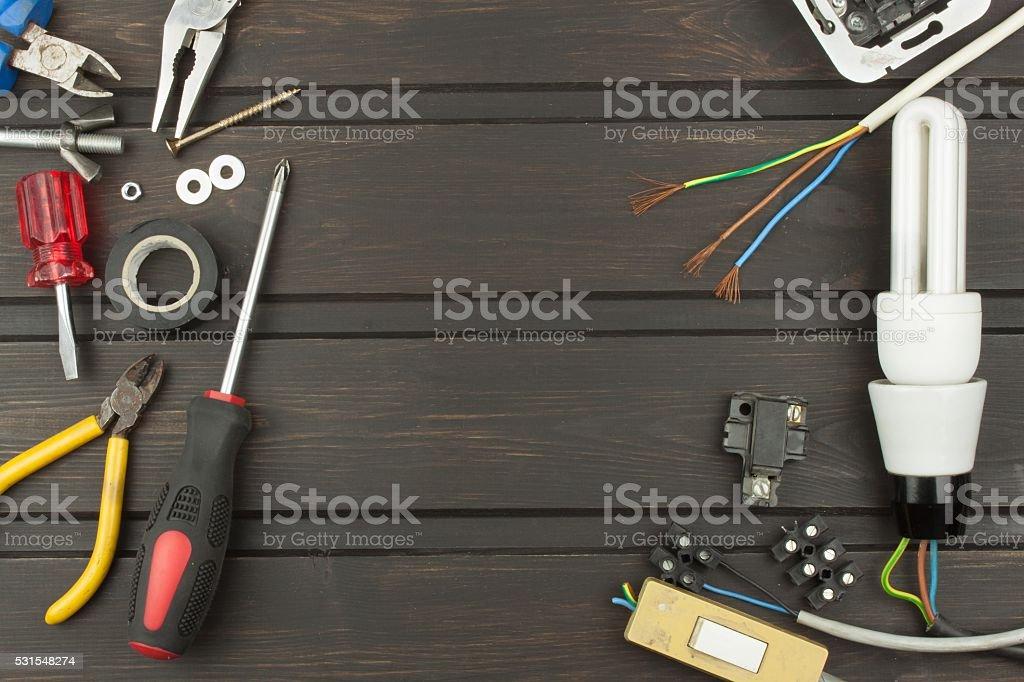 Repair broken lights. Energy saving light bulb stock photo