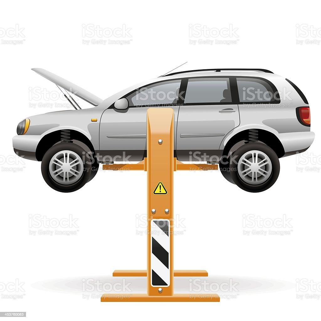 Repair car on a lift stock photo