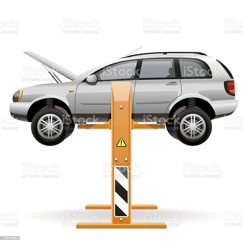 Repair car on a lift stock photo