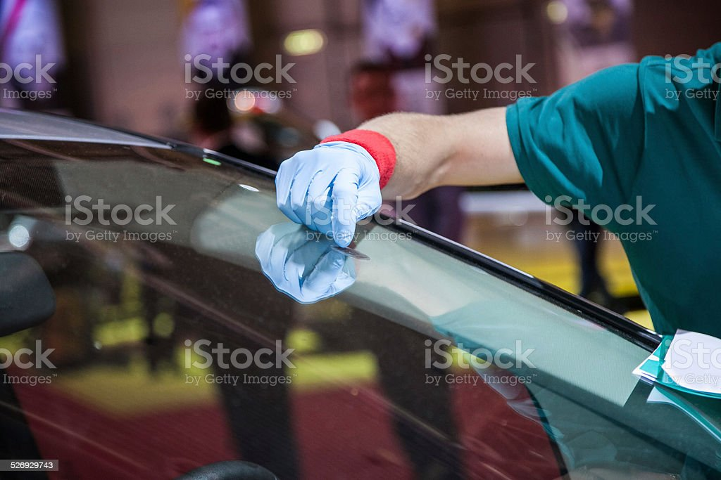 repair car windshield stock photo