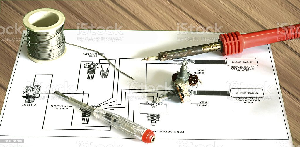 repair electric guitar from chart royalty-free stock photo