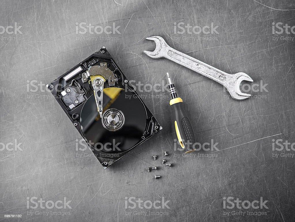 Repair Hard Disk stock photo