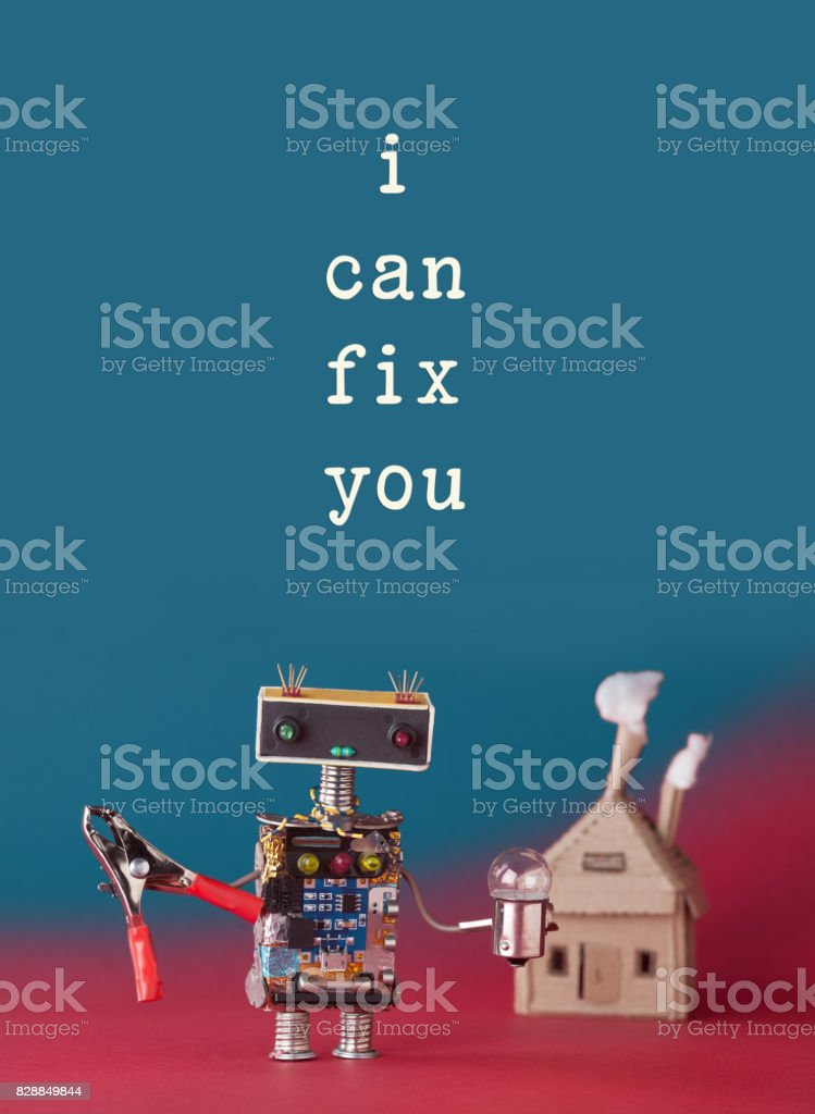 Repair maintenance concept. Friendly house master robot handyman with...