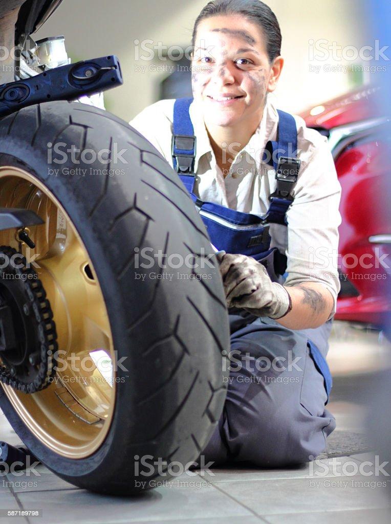 Repair motorcycles stock photo