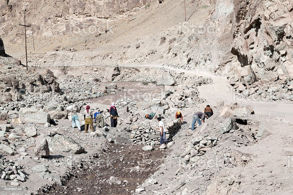 Repair Mountainous Road After Floods Ladakh India royalty-free stock photo