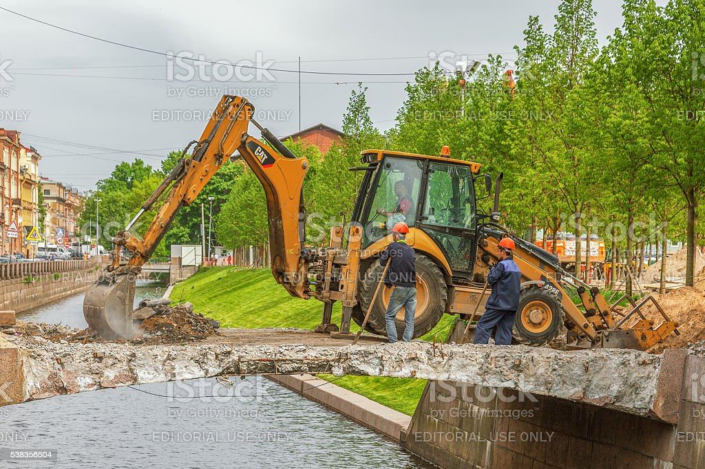 Repair of bridge on New Holland Island St. Petersburg stock photo