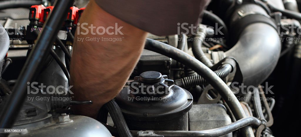 Repair of engine stock photo