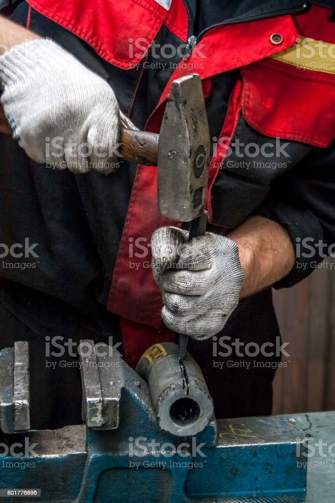 Repair of high pressure hose. stock photo