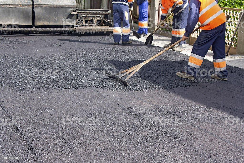 Repair of roads stock photo
