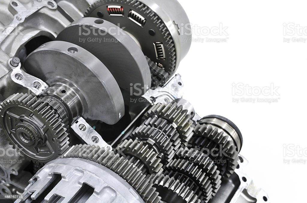 Repair of the motorcycle engine stock photo
