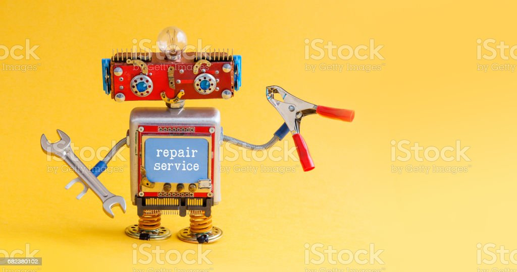 Repair service robot handyman master with hand wrench red pliers....