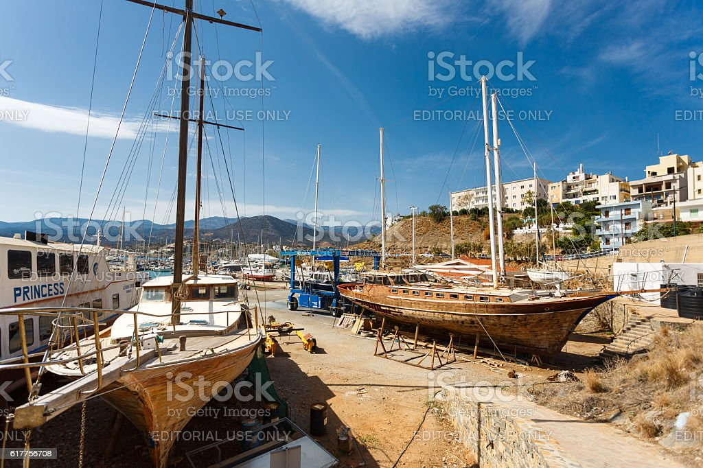 Repair ship in the dock stock photo