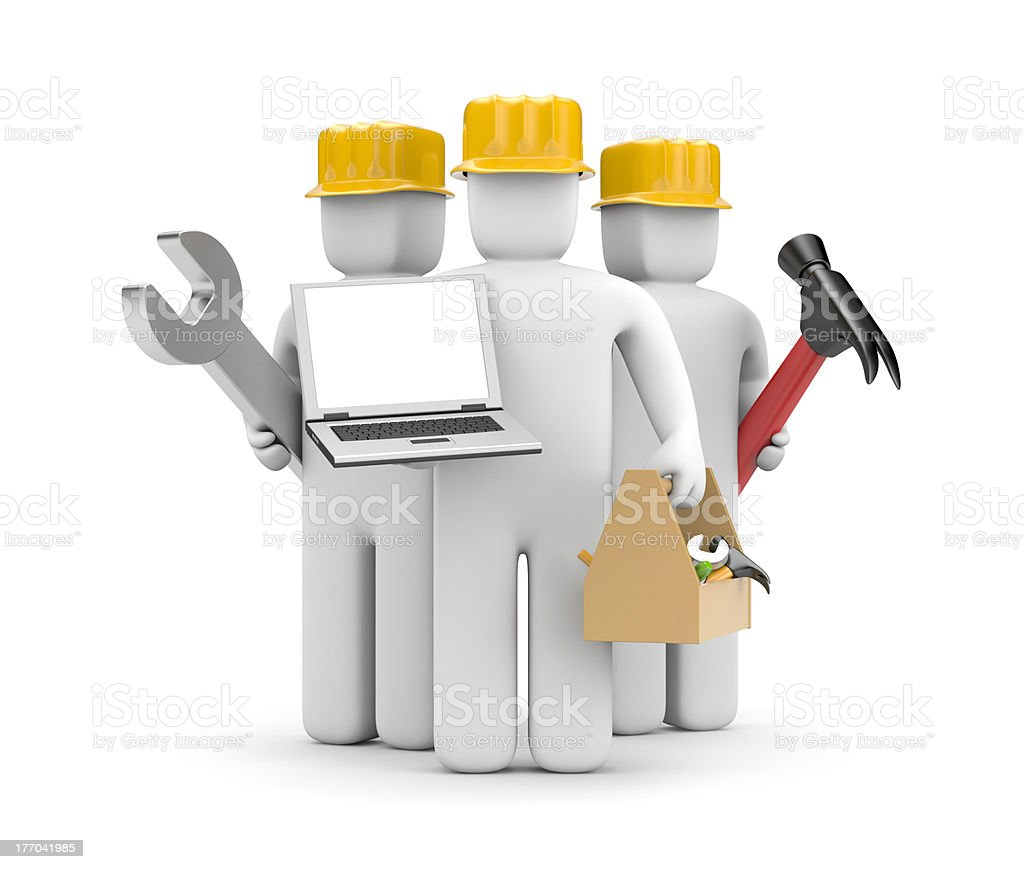 Repair team with notebook royalty-free stock photo
